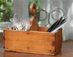 Sale 9120H - Lot 75 - A collection of silver plated cutlery in a pine trug, Height 25cm