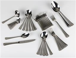 Sale 9255H - Lot 70 - A quantity of Christofle Pyramis stainless steel cutlery (44pcs), together with a grey suede Christofle cutlery case;