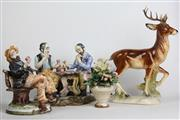 Sale 8463 - Lot 40 - Ceramic Reindeer Figure with Other Ceramics inc Capodimonte