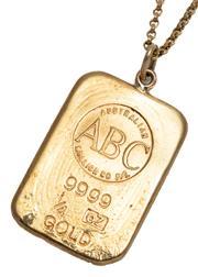 Sale 9074 - Lot 349 - A 24CT GOLD INGOT PENDANT NECKLACE; 1/4oz ABC Bullion Co. fine gold ingot on an 18ct gold belcher link chain length 49cm, wt. 3.65g....