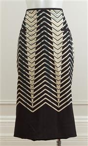 Sale 9081H - Lot 55 - A Manning Cartel skirt in a silk blend blue, black and cream herringbone pattern, size 10