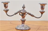 Sale 9090H - Lot 64 - A silver plated candelabrum, Height  20cm