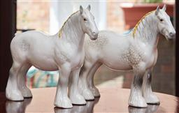 Sale 9103M - Lot 429 - A pair of Beswick shire mare figures, Height 21.5cm
