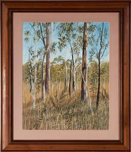Sale 9125A - Lot 5018 - Herman Pekel (1956 - ) - Gum Trees, 1990 48.5 x 39.5 cm (frame: 69 x 59 x 2 cm)