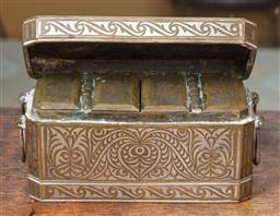 Sale 9120H - Lot 76 - An early C20th Mindanoan white metal inlaid brass betel caddy with three compartments, Width 21cm