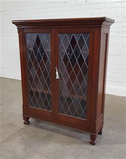 Sale 9191 - Lot 1091 - Timber 2 door leadlight cabinet (h133 x w110 x d35cm)