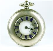 Sale 8402W - Lot 11 - BENNETT STERLING SILVER HALF HUNTER POCKET WATCH; front cover with blue enamel Roman numerals, white dial, black Roman numerals, sub...