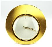 Sale 8402W - Lot 64 - JAEGER- LE COULTRE TRAVEL ALARM CLOCK; sunburst dial, centre seconds on 17 jewell cal. K814 movement No. 1697554 in a gold plated ci...