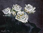 Sale 8433 - Lot 2010 - Toshiharu Matsubara (XX) - White Roses 31.5 x 41cm