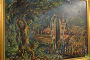 Sale 8464 - Lot 2064 - Artist Unknown (Affandi School) - Festive Scene, 1994 78.5 x 109cm