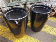 Sale 8601 - Lot 1244 - Pair of Black Fibreglass Planters (H: 66 D: 43.5cm)