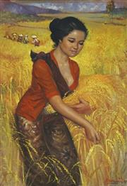 Sale 8753 - Lot 2036 - Artist Unknown (C20th) - Woman Harvesting Rice 97.5 x 67cm