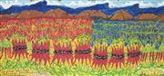 Sale 8892 - Lot 538 - Samuel Byrne (1883 - 1978) - Sturt Desert Peas 23.5 x 50 cm