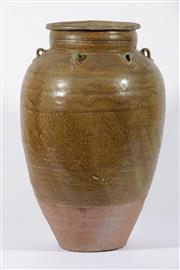 Sale 9003C - Lot 619 - Olive Glazed Chinese Potted Vessel Incised with Waves (H: 52cm)