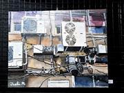 Sale 9061 - Lot 2027 - Toshiharu Matsubara - Backstreet Wall 32 x 41 cm