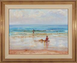Sale 9097H - Lot 81 - Neale Joseph - Figures on the Beach signed lower right