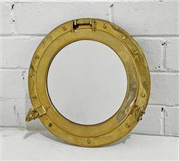 Sale 9129 - Lot 1098 - Brass Porthole Mirror (d29cm) -