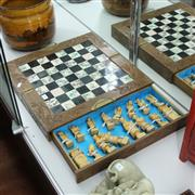 Sale 8362 - Lot 66 - A Timber & Composite Landscape Scene Chessboard with Pieces