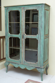 Sale 8677B - Lot 538 - A continental style, two door glassed display cabinet in shabby chic style, H x 180cm, W x 110cm, D x 48cm