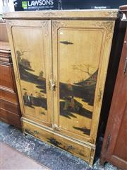 Sale 8774 - Lot 1020 - Late 19th Century Pine Painted Chinoiserie Wardrobe, in two sections, the two doors & drawer with fantastic landscapes