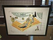 Sale 8776 - Lot 2053 - Colin Lanceley - The Fall of Icarus 1987 lithograph, ed. 62/100, 56 x 75cm (frame), signed -