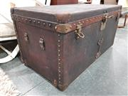 Sale 8782 - Lot 1047 - Vintage Louis Vuitton Trunk with Brass Buttoned Edging and Upholstered Interior