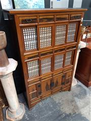 Sale 8826 - Lot 1012 - Japanese Cabinet with Eight Sliding Doors (H: 160 W: 105 D: 47cm)