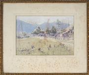 Sale 8903 - Lot 2051 - C. E. S. Tindall (1863 - 1951) Mick Pippens Farm, Burragorang, 1931 watercolour (AF), 22 x 32cm, signed/dated -