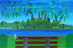 Sale 9116 - Lot 575 - Doug Frith (1962 - ) A Bench to Relax on in the Parklands 2020 acrylic on canvas 61 x 91 cm signed, dated and titled lower left