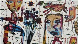 Sale 9081A - Lot 5025 - David Larwill (1956 - 2011) - Tanya Goes to Melbourne 52 x 91 cm (frame: 97 x 133 x 3 cm)