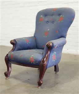 Sale 9157 - Lot 1054 - Victorian mahogany grandmother chair (h:97 x w:69 x d:58cm)