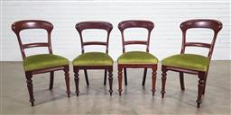 Sale 9191 - Lot 1029 - Four Edwardian dining chairs with sprung seats and green velvet upholstery, each height 89cm