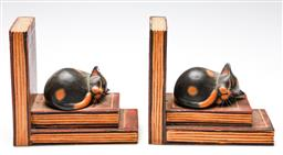 Sale 9246 - Lot 32 - A timber pair of book and sleeping cat form bookends (H:20cm)