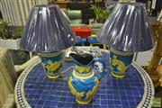 Sale 8284 - Lot 1045 - Pair of Hand Painted Italian Table Lamps w Matching Jug  (3311, 3313)