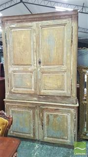 Sale 8402 - Lot 1016 - Large Two Piece Antique Oak Armoire with Distressed Finish (H 258 x W 160 x D 50cm)