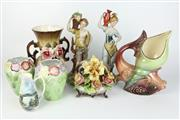 Sale 8405 - Lot 45 - Capodimonte Floral Centrepiece with Other Ceramics incl. Aquatic Vase