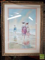 Sale 8478 - Lot 2063 - R. Joel, Ladies on the Beach, Watercolour SD85LR, 54.5x37cm