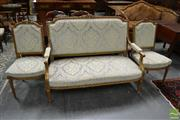 Sale 8500 - Lot 1035 - Louis XVI Style Carved & Gilt Salon Suite, comprising settee & two side chairs, with turquoise cut moquette velvet upholstery (loss...