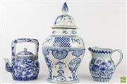 Sale 8560 - Lot 24 - Blue and White Chinese Lidded Urn Together with Jug and Vase