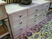 Sale 8629 - Lot 1032 - Low Lying White Painted Chest of Six Drawers with Ceramic Painted Handles (H: 52 W: 115 D: 48cm)