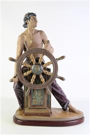 Sale 8877 - Lot 20 - A Large Lladro Figure of The Helmsman on Timber Stand  (H 56cm)