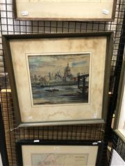 Sale 8903 - Lot 2033 - Dora Jarrett St. Pauls watercolour (AF), 42 x 44cm (frame), signed