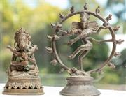 Sale 8976H - Lot 32 - Two Indian cast bronze figures of Shiva one within flame aura, the other with consort, Height of tallest 14cm