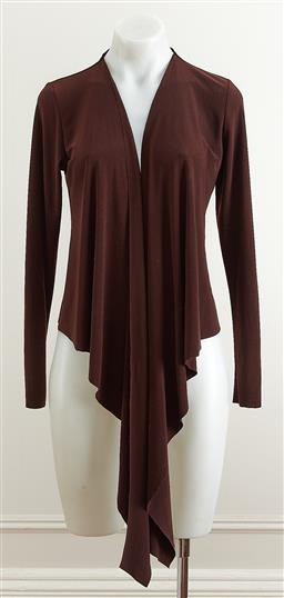 Sale 9081H - Lot 77 - A Simona bolero jacket in a dark choclate brown crepe with front tie, size 10