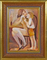 Sale 8389 - Lot 581 - Bill Coleman (1922 - 1993) - Mother and Child 24.5 x 16.5cm