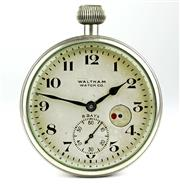 Sale 8402W - Lot 84 - WALTHAM 8 DAY DECK WATCH; cream dial with Arabic numerals, subsidiary seconds, wind indicator on a 3/4 plate movement no. 20981562 s...