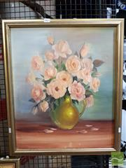 Sale 8478 - Lot 2067 - Artist Unknown, Still Life Roses in Vase, Oil, 59.5x40cm