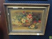 Sale 8619 - Lot 2002 - Artist Unknown, Floral still life oil on board 25 x 35cm unsigned -