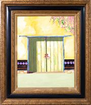 Sale 8644A - Lot 53 - David Moad - Door and Bougainvillea, Mexico 50 x 39cm, frame size 72 x 62cm