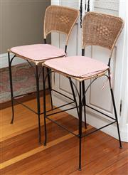 Sale 8990H - Lot 96 - Five French style wicker back iron kitchen stools, Height of back 108cm